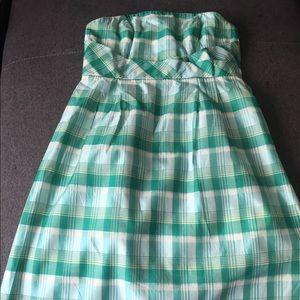 Jcrew plaid taffeta strapless dress